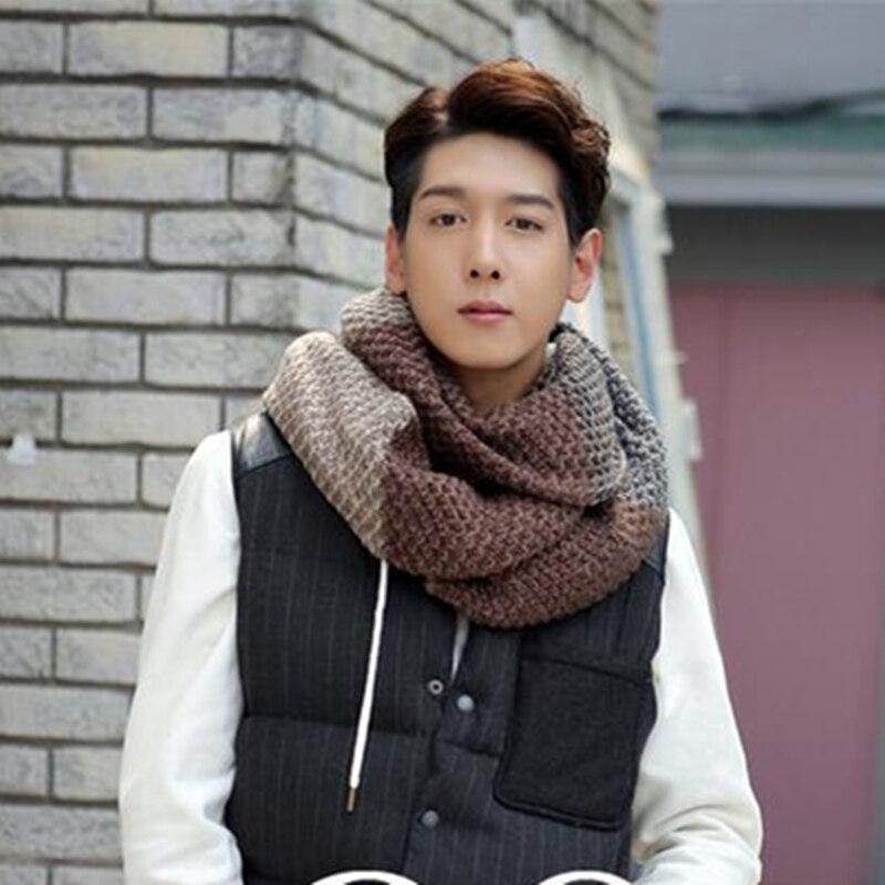 Men Sjaals Winter Crochet Scarf Long Stripe Woolen Bandana Scarf