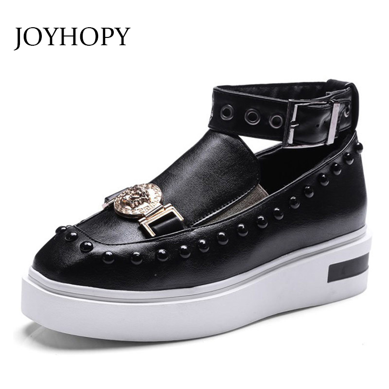 Customize Size 33-43 Flats Shoes Women Ankle Wrap Flat Platform Shoes Autumn Ladies Metal & Rivets Thick Bottom Shoes AWF0172(China)