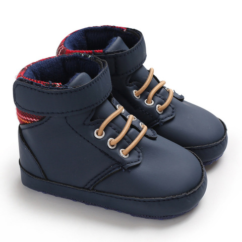 New male baby high tube cute soft bottom PU leather newborn baby first Walkers Baby Shoes child boy shoes non-slip baby shoes Multan