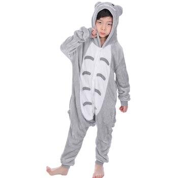 32eeb766 Pijamas de animales Totoro para 4 6 8 10 12 años bebé Otoño Invierno  franela niños niñas pijamas con capucha niños ropa de dormir pijamas Onesie
