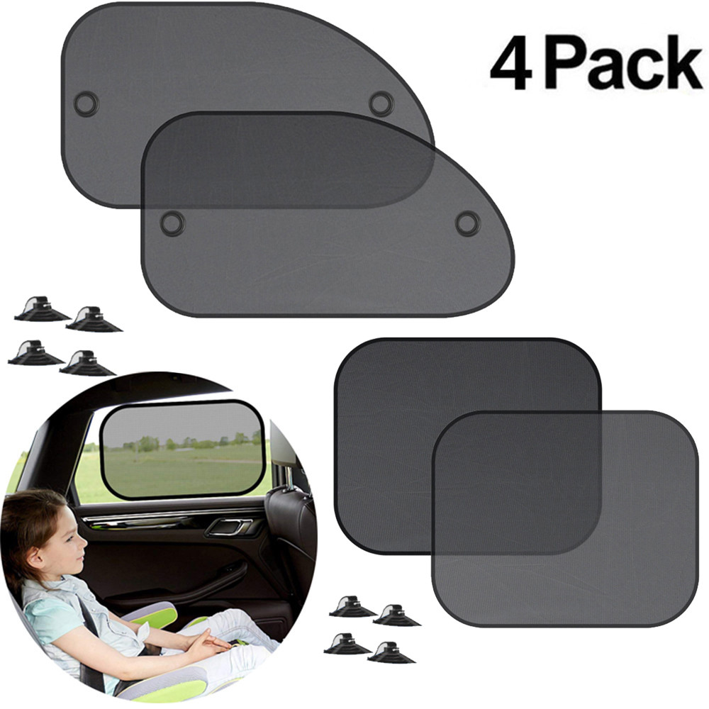 4pcs Car Sun Shade Chic Mesh Car Side Window Shade Cling Sunshades Sun Shade Cover Visor Shiel Sunshade Car Auto Curtain