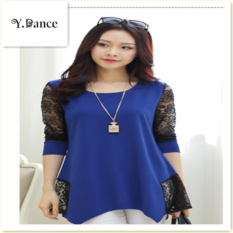 2017 New Shirt Women For Work and Casual Women Blouses O-neck Plus Size 5XL Blusas Patch Lace Blouse Long Sleeve Female Shirts