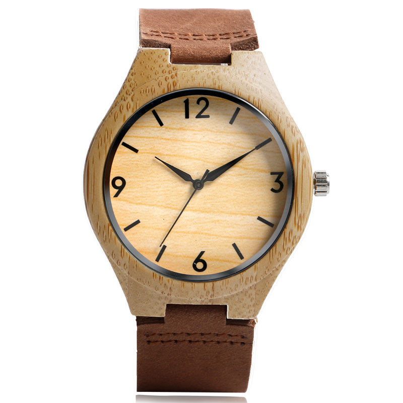 High Quality Men Women Quartz Hand-made Wooden Bamboo Watch Genuine Leather Watchband Simple Design Dial Casual Wood Watch Gift creative wooden bamboo wrist watch genuine leather band strap nature wood men women quartz casual sport bangle new arrival gift