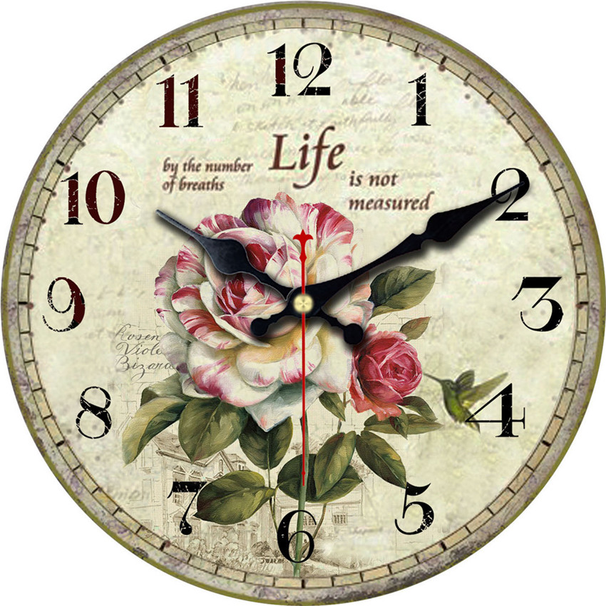 WONZOM Elegant Flowers Decorative Wall Clock Lovely Design Fashion Silent Living  Room Wall Decor Saat Home Decoration Gift 2017 In Wall Clocks From Home ...