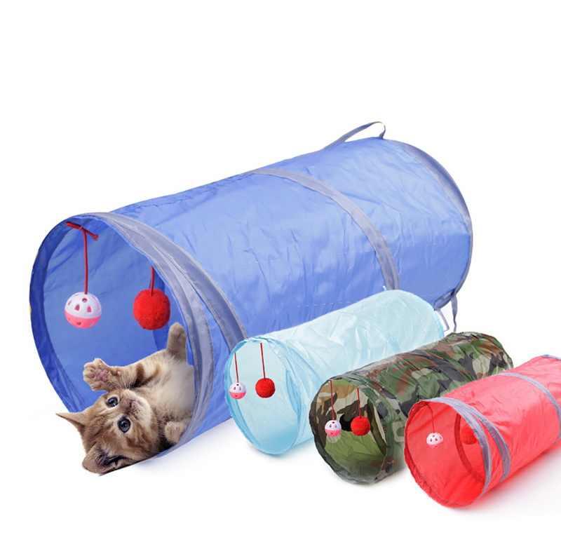 Dozzlor 애완 동물 고양이 터널 2 구멍 놀이 튜브 공 Collapsible Crinkle 새끼 고양이 장난감 재미 있은 긴 흰 족제비 토끼 놀이 개 터널 튜브