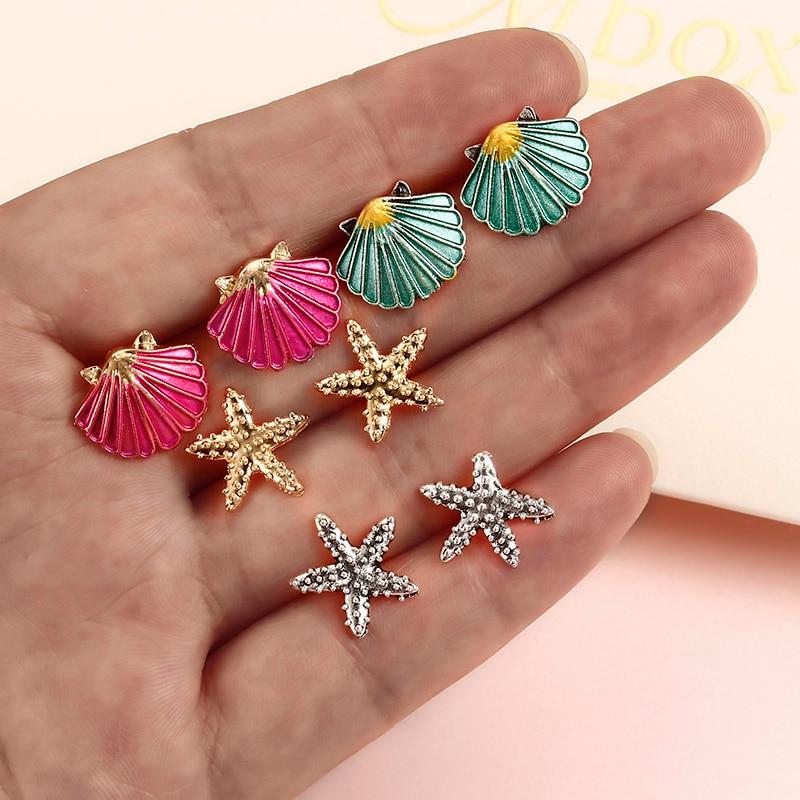 4 Pairs Assorted Boho Stud Colorful Sea Shell Starfish Beach Jewelry Hair Accessories Drop Earrings