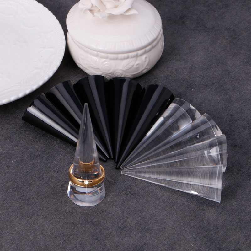 JAVRICK 5Pcs Acrylic Finger Cone Ring Stand Jewelry Display Holder Show Case Organizer Dispaly New Arrival