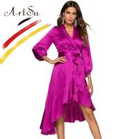 ArtSu Elegant Purple Long Sleeve Wrap Bandage Maxi Dress Women Ruffle V Neck Sexy Silk Satin Party Dresses Robe Winter Vestido