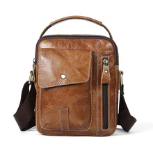 Genuine Cow Leather Messenger Bag Men Top Handle Handbag Chest Crossbody Shoulder Bag Business Small Male Sling Bag