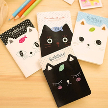 4pcs/lot 12*8.5cm Creative Korean Stationery Kitten Notebook Students Prizes Small Books Cartoon Diary Study Supplies