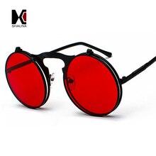SHAUNA Small Size Folding Steampunk Sunglasses Women Retro Men Spring Temples Round Clear Red Punk Glasses UV400