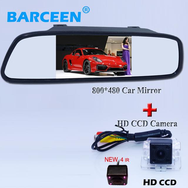 """Nueva llegada de alambre cámara de vista trasera del coche con 4 ir adecuado para mitsubishi outlander + en la venta de coches monitor del espejo de 4.3"""""""