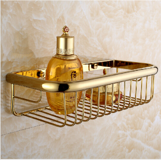 Wall mounted gold bathroom soap dish bath shower shelf bath shampoo holder basket holder for Wall mounted soap dishes for bathrooms