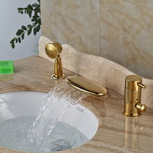 Creative WidespreaWwaterfall Bath Tub Faucet Single Lever Pull Out Handshower Bathtub Mixers Polish Golden