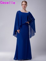 Royal Blue Sheath Long Floor Length Chiffon Elegant Mother Bride Dresses 2017 With Capes Beaded Neck Dress For Bride's Mother