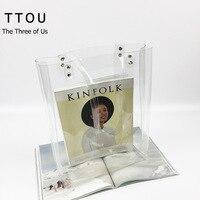TTOU Women Transparent Handbag Fashion PVC Top Handle Bag Lady Clear Shopping Bag Fashion Beach Bag