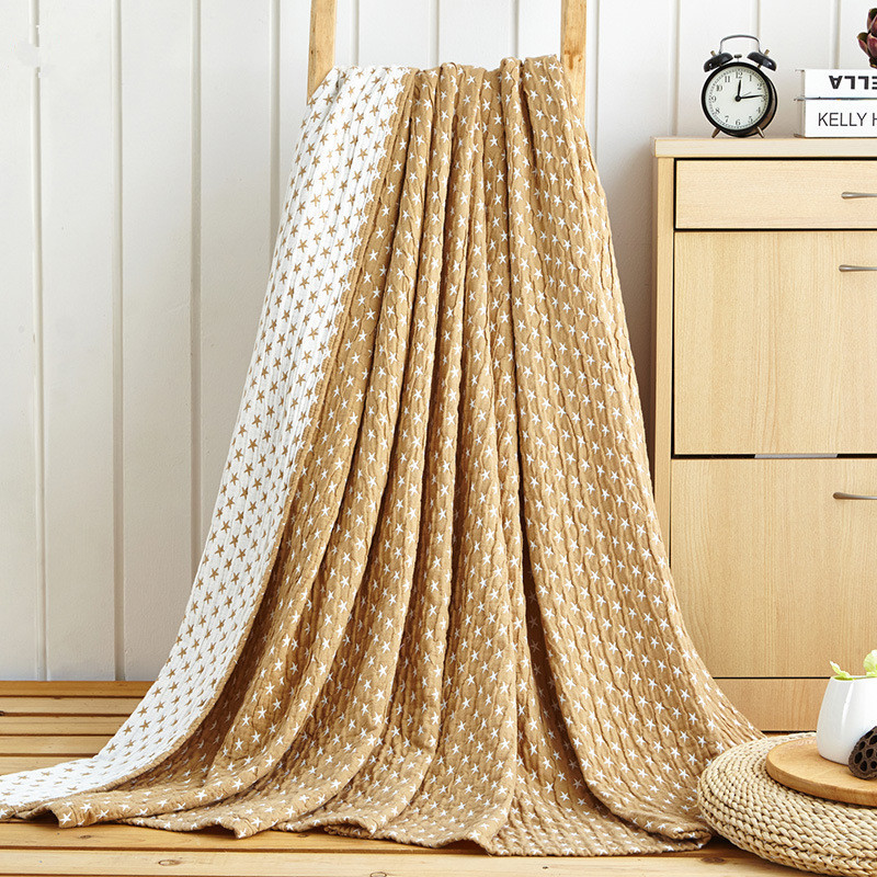 Home bedding AB side 100%Cotton Blue Star Towel Blanket Summer Camel Gray Blanket 150*200cm Throw On Bed Sofa Portable Bedding