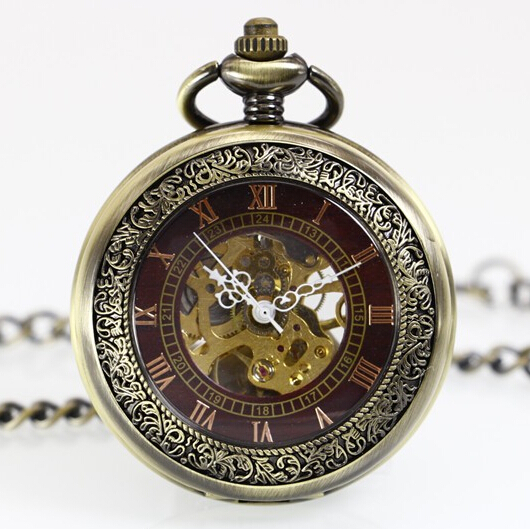 New Antique Transparent Cover Hand Wind Skeleton Mechanical Pocket Watch Necklace Chain Gift PJX1061