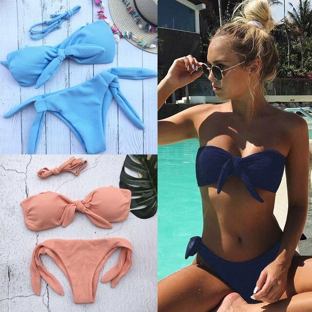 e09747296879 Sexy vendaje mini halter bikini sin tirantes traje de baño 2019 Rosa  señoras string tankini trajes