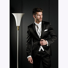 Custom Made Groom men suit Tuxedos Black Groomsmen Notch Lapel Wedding Dinner mens Suits Man Bridegroom (Jacket+Pants+Tie+Vest)
