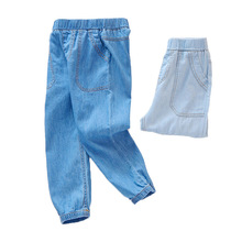 2019 spring summer Boys GIRLS KIDS Jeans Casual Mosquito Comfortable Breathable Blue Large Pocket  Loose