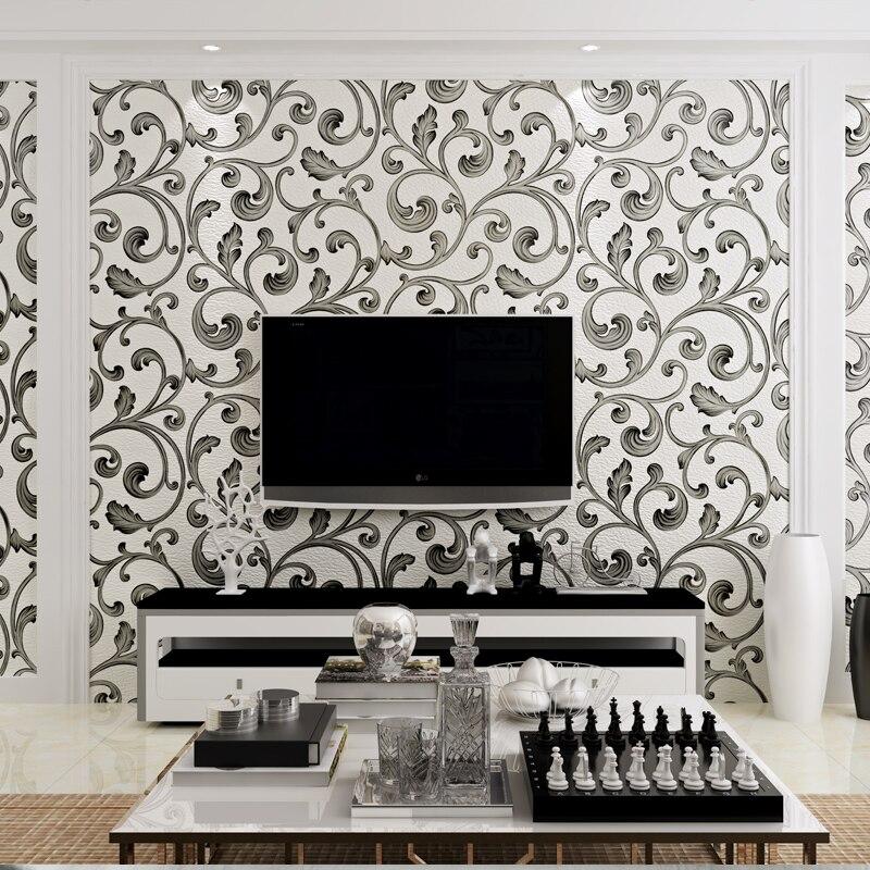 3d papel parede Blanc et Noir De Luxe Flocage Daim Feuille D'acanthe 3d Papier Peint Rouleaux pour Salon 3d papier Peint TVBackground
