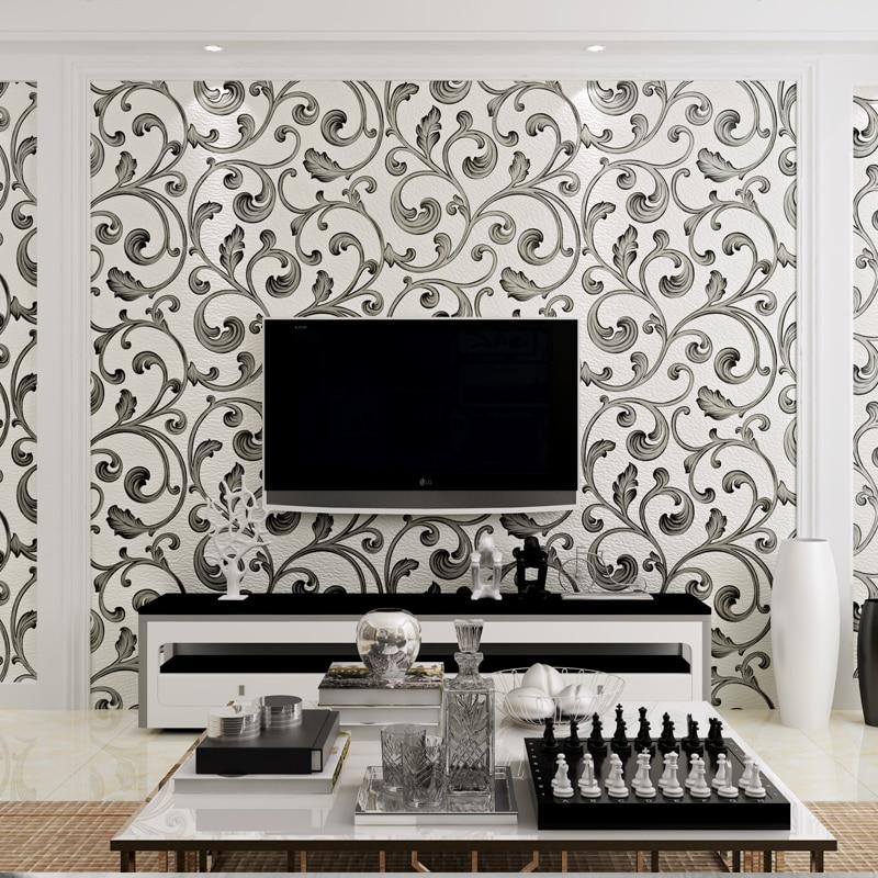 купить 3d papel parede White&Black Luxury Flocking Suede Acanthus Leaf 3d Wallpaper Rolls for Living Room 3d Wall paper TVBackground по цене 3408.78 рублей