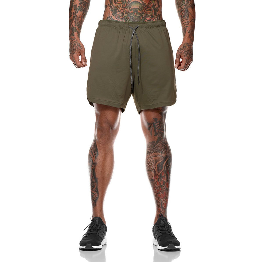 Men 2 In 1 Running Shorts Jogging Gym Fitness Training Quick Dry Beach Short Pants Male Summer Sports Workout Bottoms Clothing