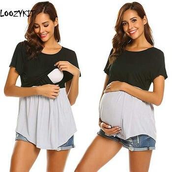 82be8e5f0 Looztkit mujer maternidad T camisa verano lactancia materna tela de  Patchwork de enfermería Top Casual lactancia embarazada camiseta ropa