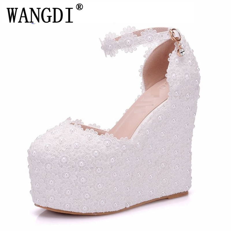 Lady White Flower Wedding Shoes Lace Pearl High Heels Sweet Bride Dress  Shoes Beading Women Wedge ... c6e9e5354a46