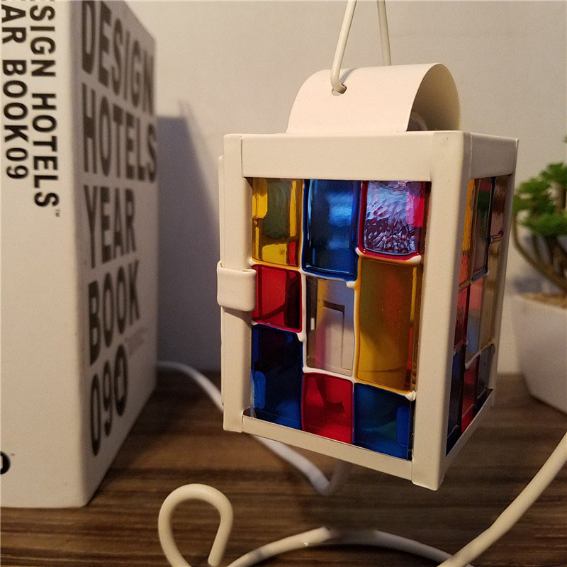 Retro dimmable wrought iron square colorful bedside lamp bedroom creative decorative lamp night light zakoo colorful cool led night light chargeable battery bedside lamp 3 modes square creative lamp table night lamp bar light