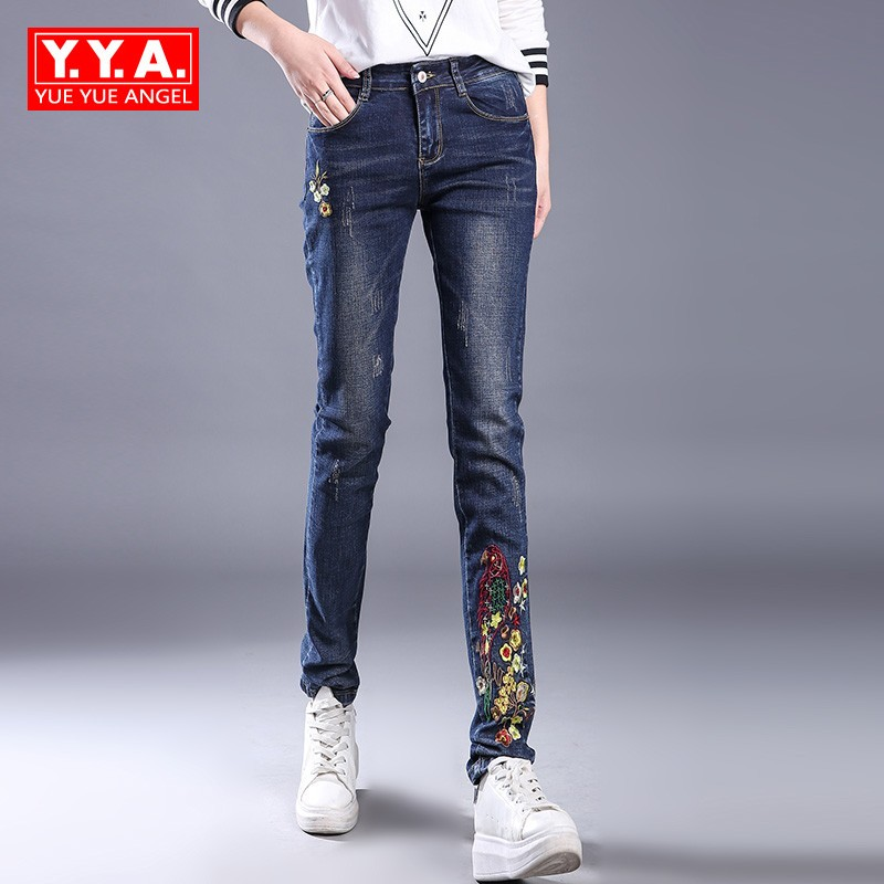 New Flower Embroidery Ethnic Women Jeans Pencil Pants Stretch Slim Fit Mid Waist Trousers For Women Zip Full Length Denim Pants