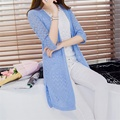 Spring New Solid Color Hollow Half Sleeved Card Knited Long Cardigan W85