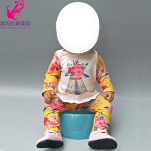 "Fits 43cm infant baby doll clothes pants soft pajamas doll dress for 18"" girl doll long sleeve shirt and pants(China)"