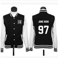 BTS Bangtan Boys Baseball Clothes College Unisex Black Cotton Letters Printing Jacket Tops Spring Autumn Plus