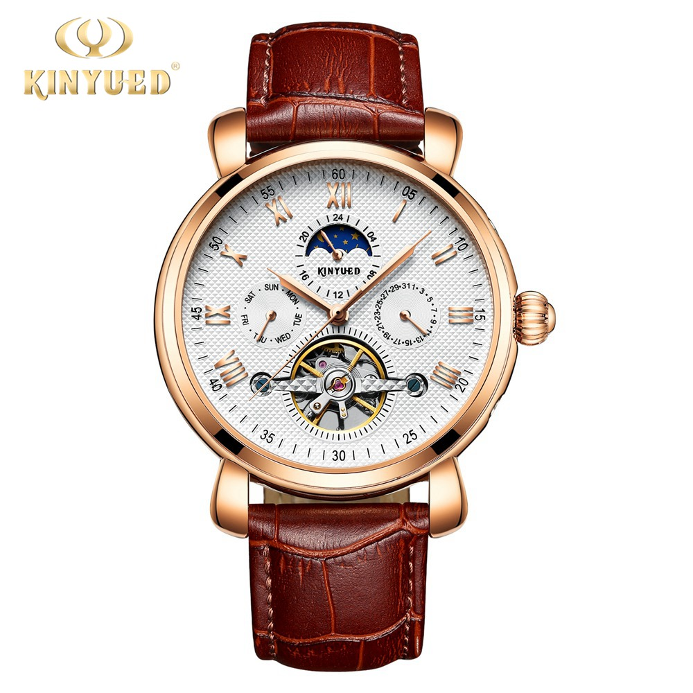 Kinyued Skeleton Tourbillon Mechanical Watch Automatic Men Classic Male Fashion Dial Leather Mechanical Wrist Watches J024P-1 beverley box beverley box be064ameym64
