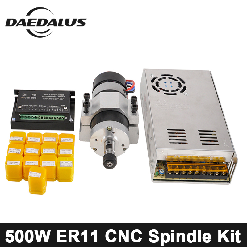 цены на Brushless 500W CNC Spindle Motor Milling Router DC Spindle 55MM Clamp Stepper Motor Driver Switch Power Supply ER11 Collet Chuck в интернет-магазинах