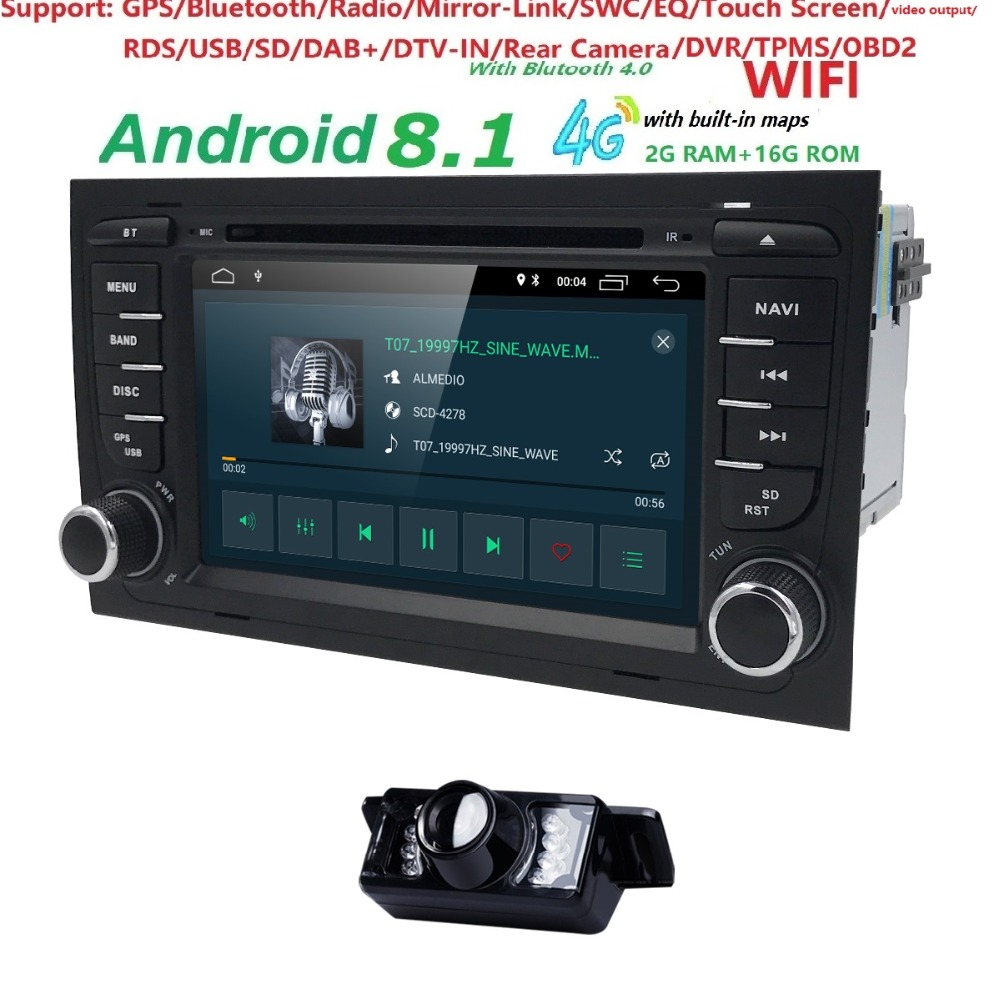 Free shipping! 4G WIFI Android 8.1 CAR GPS Navi for audi A4 2002-2008 S4 RS4 8E 8H B6 B7 With BT RDS DVD multimedia player radio