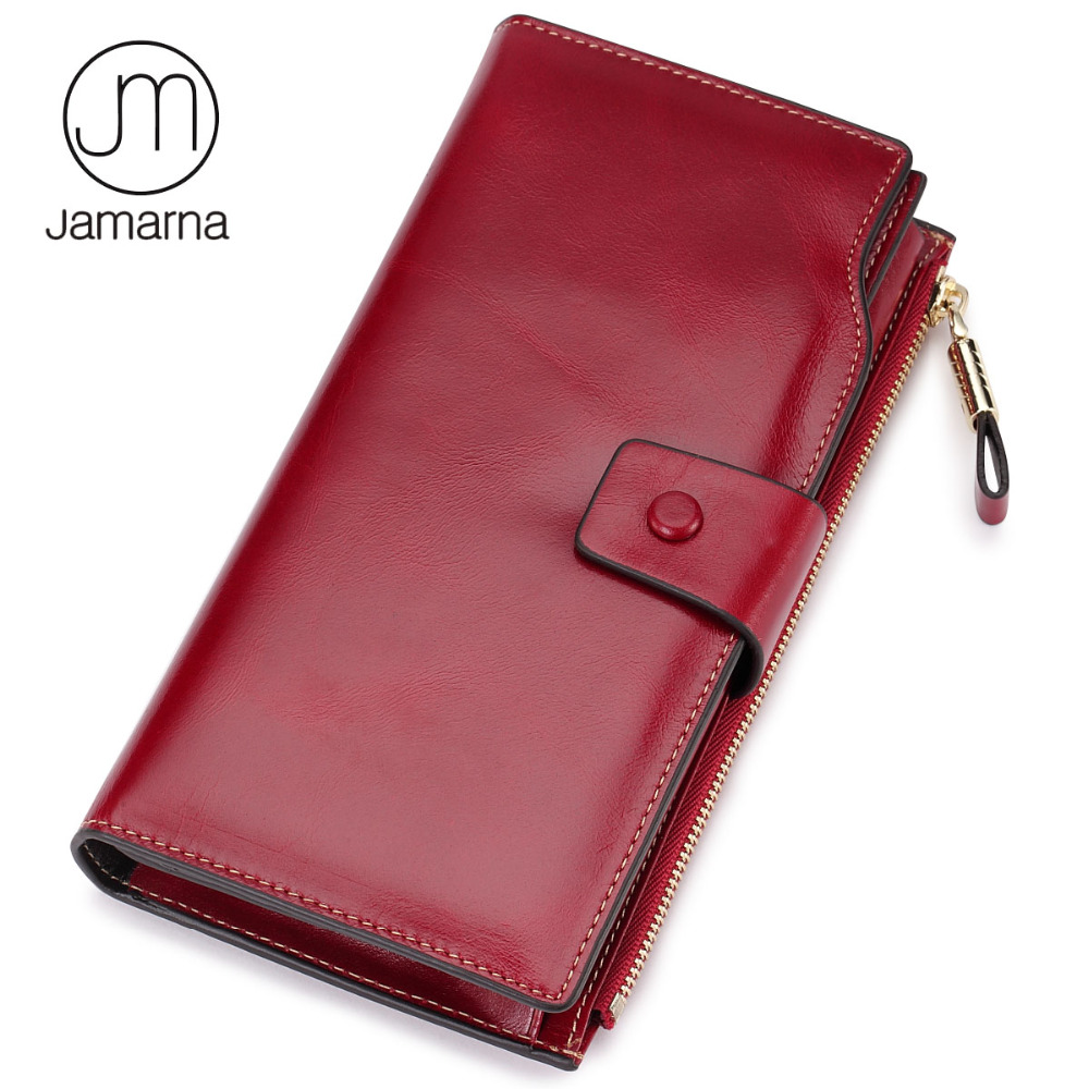 Jamarna Genuine Leather Wallet Female Card ID Holder Long Clutch Coin Women Purse Phone Pocket Wallet For Women Red simline fashion genuine leather real cowhide women lady short slim wallet wallets purse card holder zipper coin pocket ladies