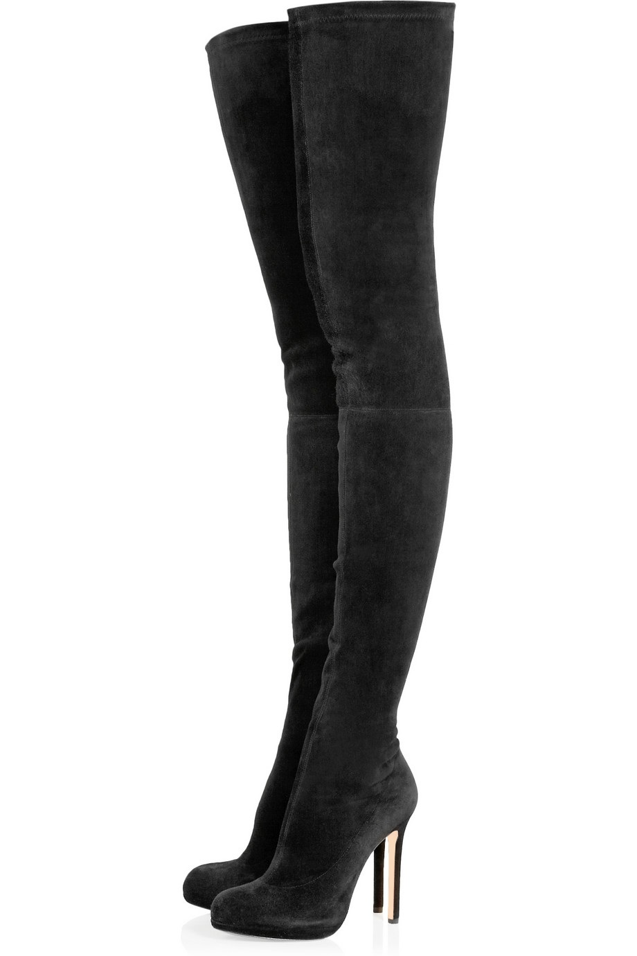 Boldees Fancy Women Black Stretch Suede Over the Knee Thigh High Boots Ladies Round Toe Platform High Heel Boots Sexy Tight Shoe
