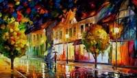 beautiful Painting Home Decor alone in the city Colorful oil paintings Canvas Abstract Modern Fine Art High quality Hand painted