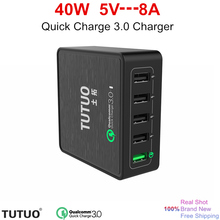 [Quick Charge 3.0 Charger] 40Watt 5V 8A Multi USB Charging Station QC3.0 High Speed Fast charger for LG ,Galaxy S7 Edge and More