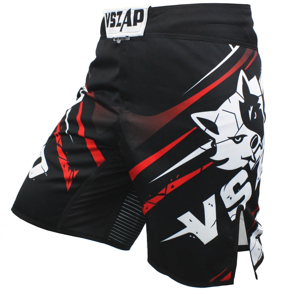 VSZAP Mäns Muay Thai Boxning Shorts Utskrift MMA Shorts Fight Grappling Kort Polyester Kick Gel Thai Boxning Shorts MMA Boxe