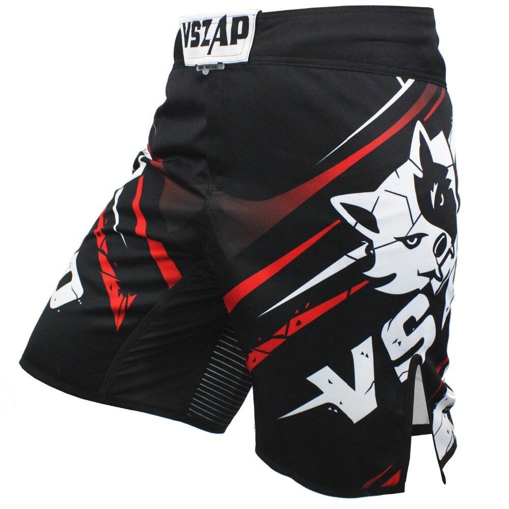 VSZAP Muay Thai Boxe Calções de Impressão dos homens MMA Shorts Luta Grappling Pontapé Gel Calções De Boxe Tailandês MMA Curta de Poliéster boxe