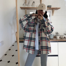 OLN 2019 Blouse For Women Loose Plaid Shirt Boyfriend Handsome Badge Shirt Coat Single-breasted Blouse Spliced Female Top 3213 недорого