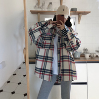 OLN 2019 Blouse For Women Loose Plaid Shirt Boyfriend Handsome Badge Shirt Coat Single breasted Blouse Spliced Female Top 3213