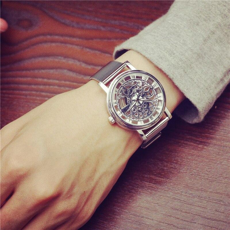 JIS Luxury Men Watch Hollow Stainless Steel Quartz Watches Women Fashion Business Calendar Male Wristwatch Silver