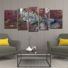 Wall Art Painting Wolf In The red Forest Pictures Prints On 5 Panel  Canvas Animal Picture Decor Oil For Home Decoration