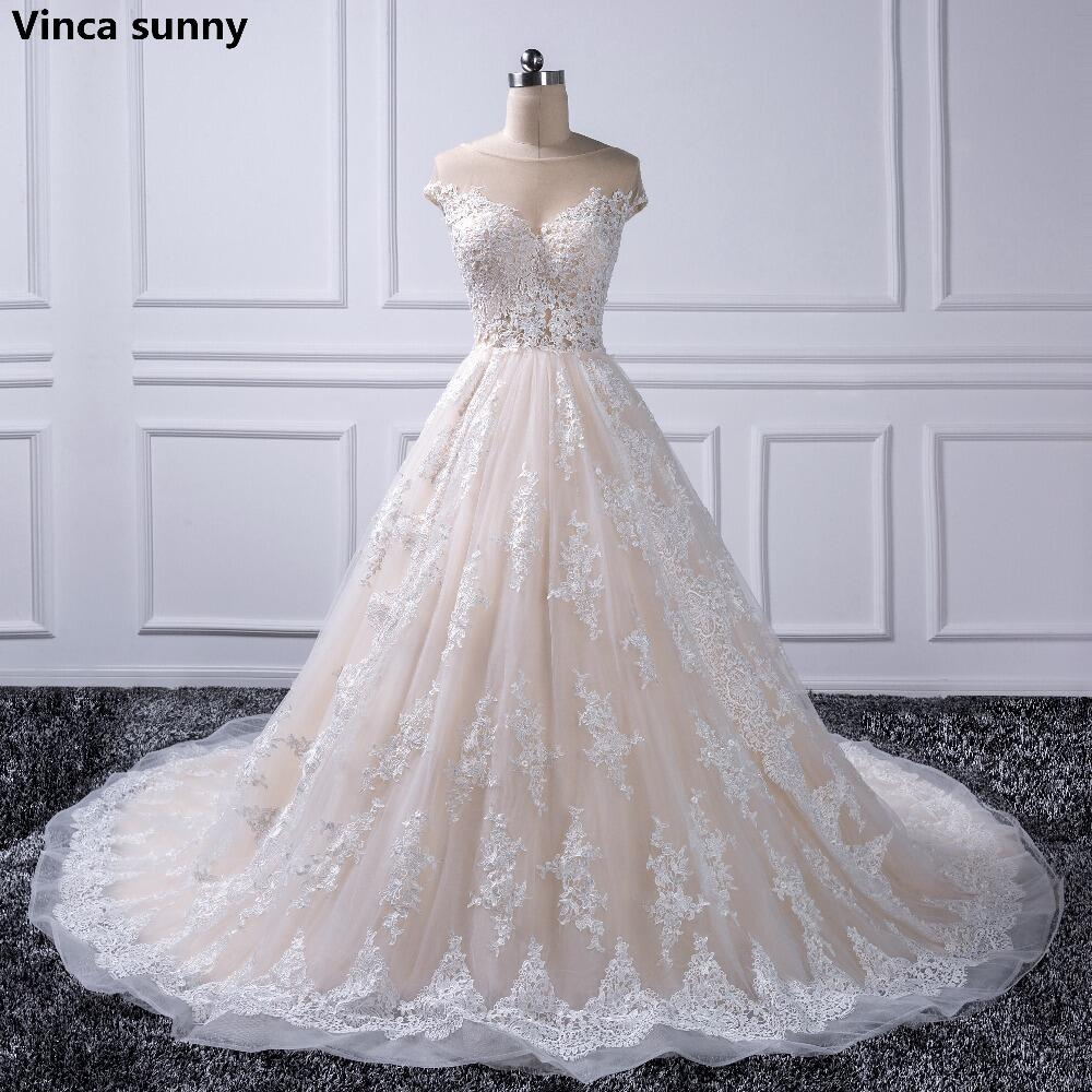 Luxury Lace Ball Gown Wedding Dress 2019 Sheer Neck Princess Bridal Gown Long Tail 2019 Bridal