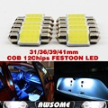 Car-Styling Fast Shipping 4pcs 12Chips Super White 31mm Festoon Bulb COB LED Lamp For Interior License Plate Dome Map Light